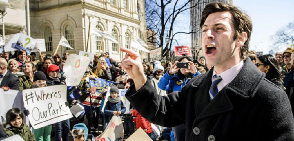 Steve Levin at City Hall Rally