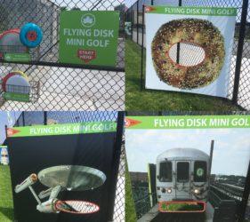 Frisbee mini golf at 50 Kent