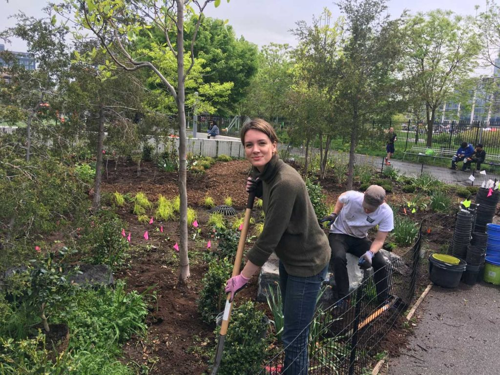 Emily working one of the new gardens in BIP