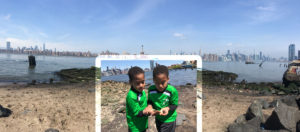 Bushwick Inlet Park Shoreline with Kids Looking at Crabs