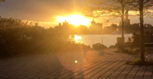 Bushwick Inlet Park sunset by the East River