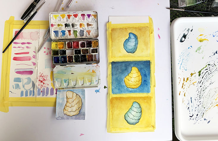 Watercolor set and paintings