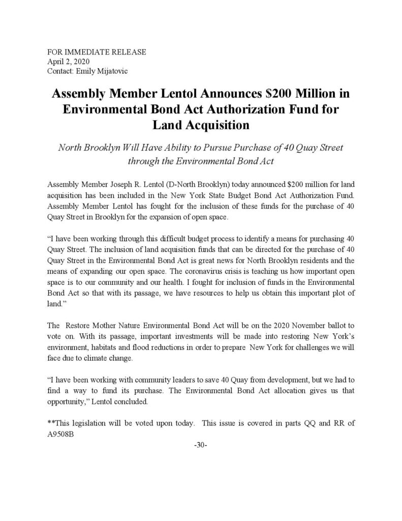 Joe Lentola Environmental Bond Act Announcement