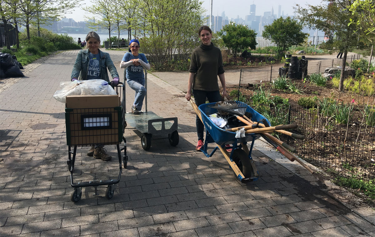 Gals gardening at BIP