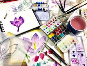Flower illustration & watercolor supplies